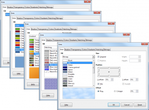 Figure 1: Area fill dialog with several functions.