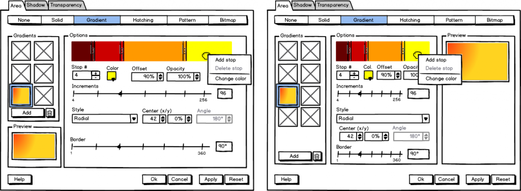 Figure 4: Mockup for gradient setting.