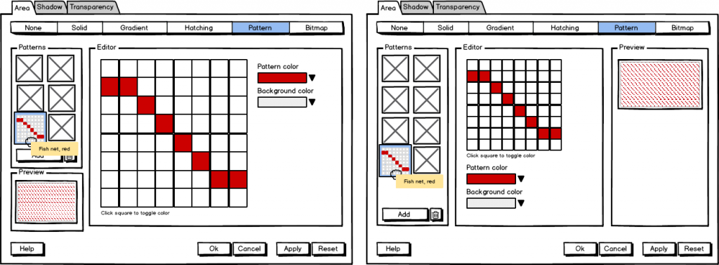 Figure 6: Mockups for pattern setting.