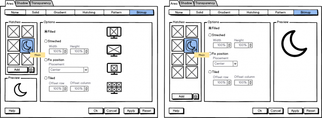 Figure 7: Mockup for bitmap setting.