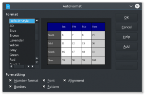Figure 1: The dialog 'autoformat' handles table styling today.