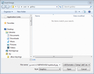 LibreOffice's insert image dialog in Windows.