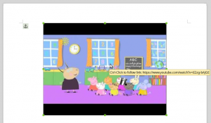 Thumbnail of the online video with associated hyperlink as indicated by the tooltip.