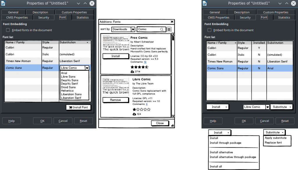 Two dialog variants of font substitution.