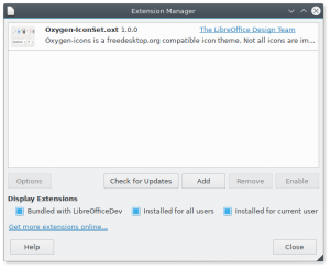 Extension manager with installed Oxygen icon theme.
