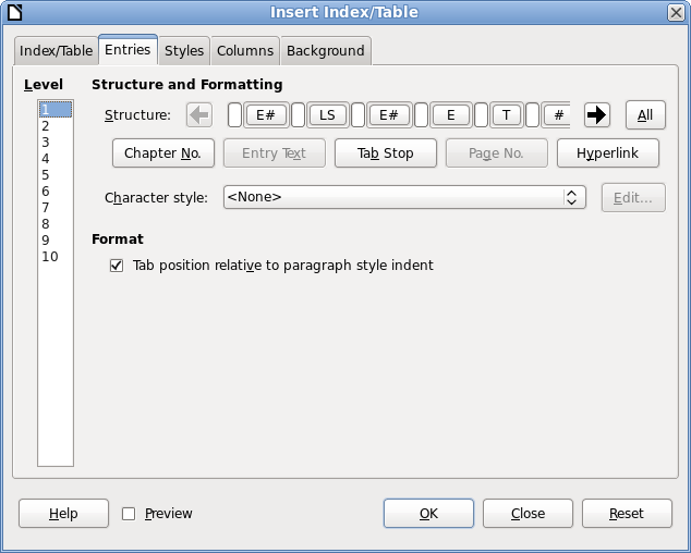 LibreOffice Design Session: Entries at Indexes and Tables