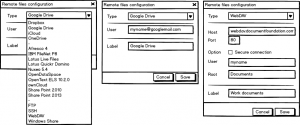 Three layouts of the dialog to add a service: Empty, Google Drive (GD), and WebDAV.